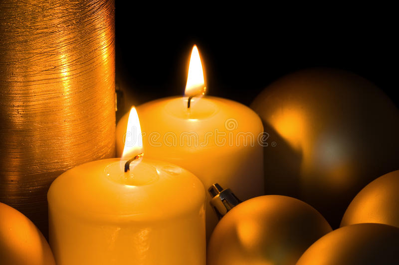 Golden Christmas Candles royalty free stock photo