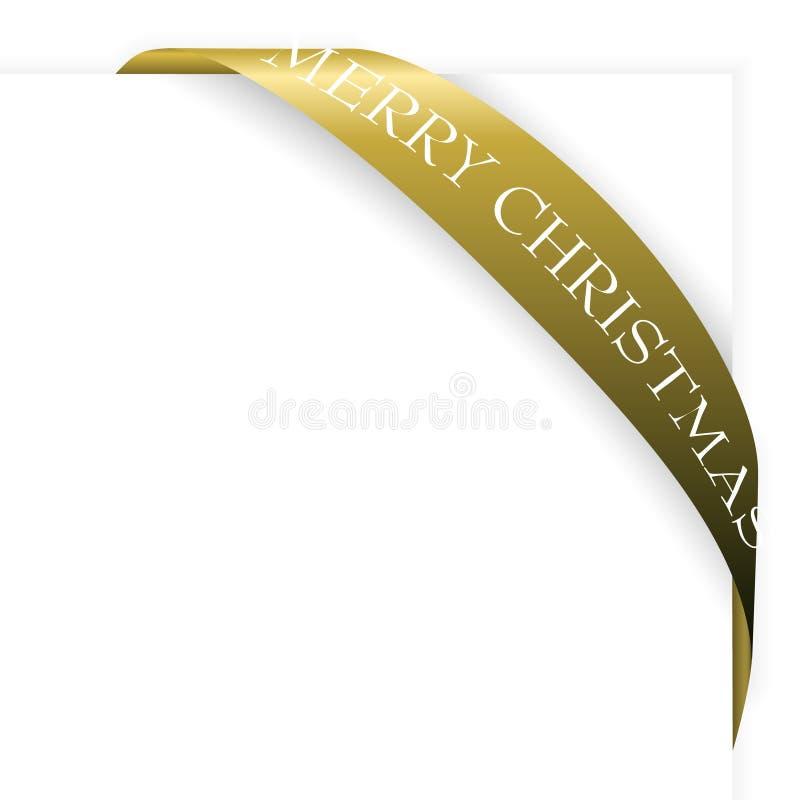Golden Christmas corner ribbon vector illustration