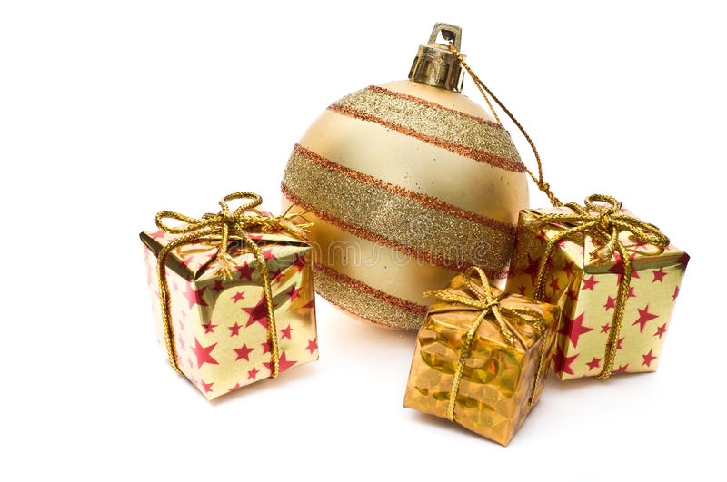 Golden christmas decoration with gift boxes stock image