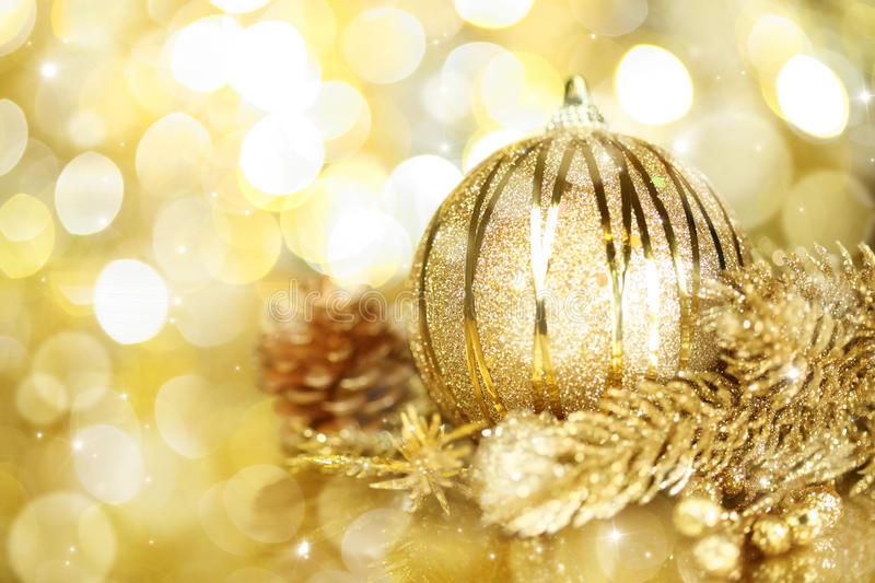 Download Golden Christmas Decorations Stock Photo - Image of glass, decorative: 27560048