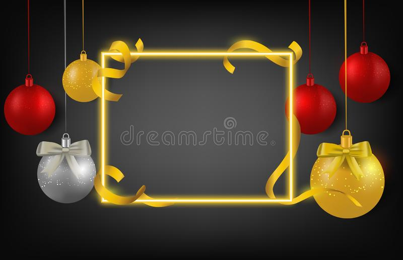 Christmas decorations ball ribbon and frame on black background stock images