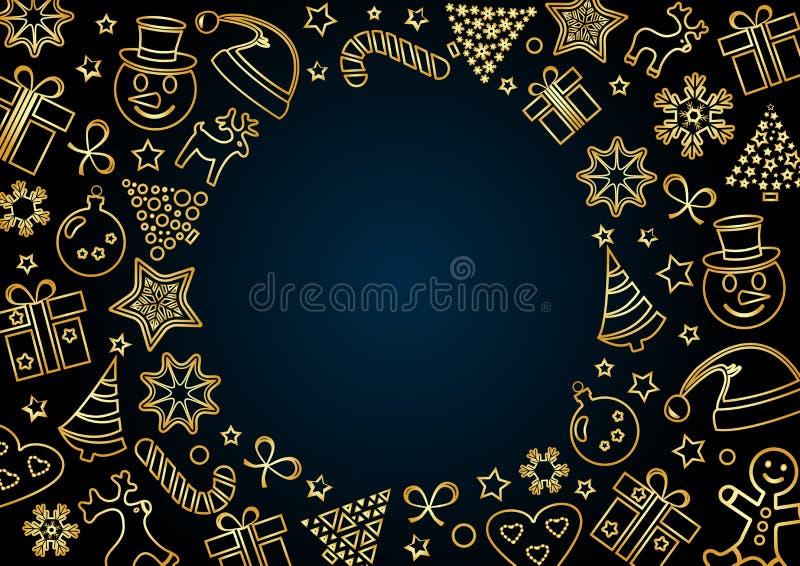 Golden Christmas frame on dark blue background, space for your text. Outline design. Vector. Illustration vector illustration