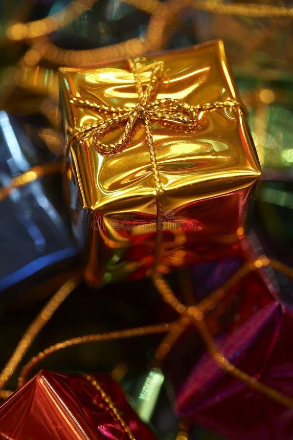 Golden Christmas gift stock photos