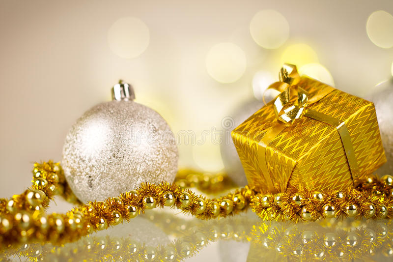 Golden Christmas Gift Royalty Free Stock Image