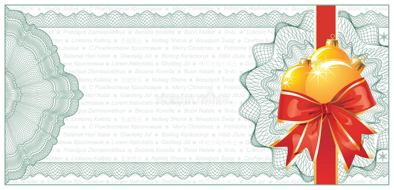 Golden Christmas Gift Certificate Or Discount Royalty Free Stock Images