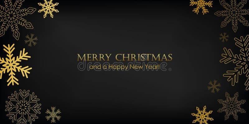 Golden christmas-hälsningskort med snöflingor på svart bakgrund vektor illustrationer