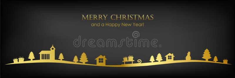 Golden christmas landscape border on black background greeting card vector illustration