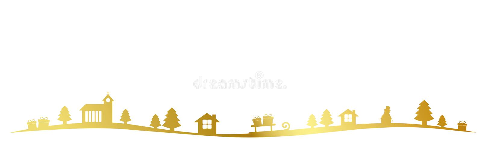 Golden christmas landscape border with church firs houses and gifts stock illustration