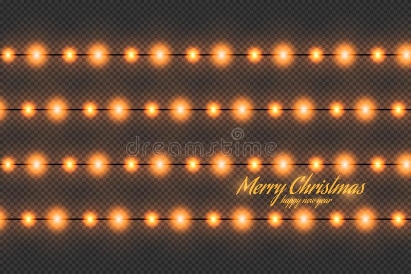 Golden christmas lights isolated realistic design elements. royalty free stock image