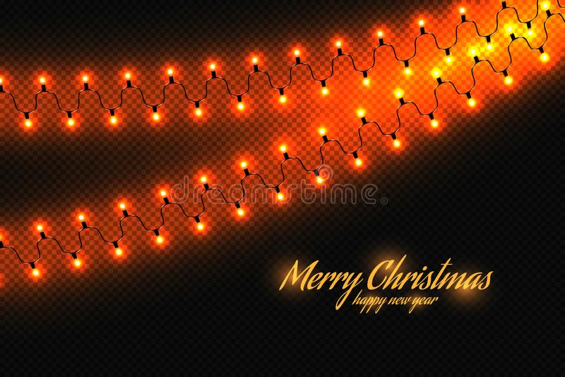 Golden christmas lights isolated realistic design elements. royalty free stock photo