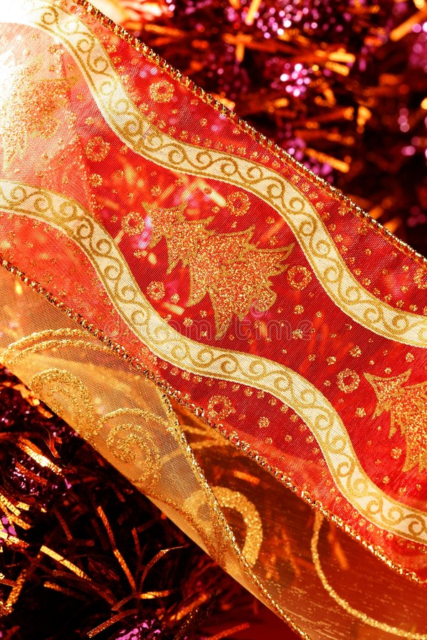 Free Golden Christmas Macro Decoration, Red Background Stock Images - 7615484