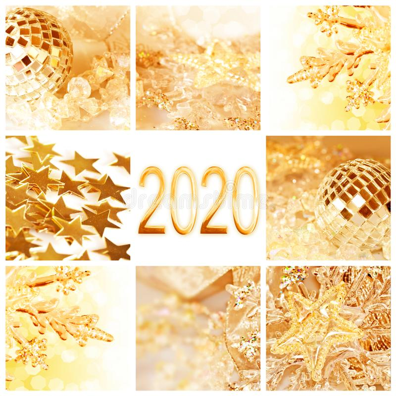 2020, golden christmas ornaments collage new year and holiday greeting card. 2020, golden christmas ornaments collage square new year and holiday greeting card royalty free stock images