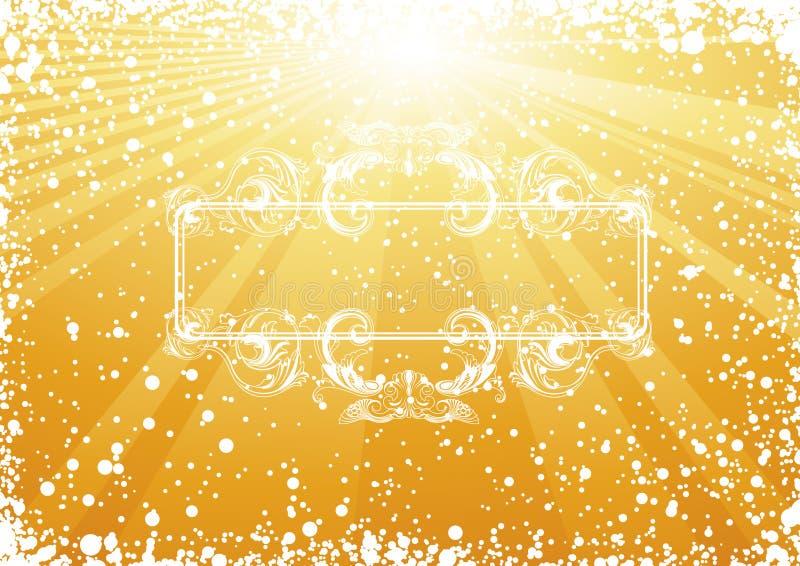 Golden Christmas Renaissance frame stock illustration