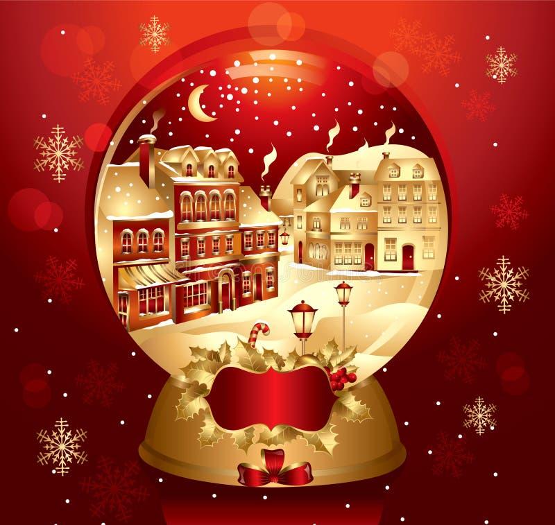 Golden Christmas Snow Globe Stock Images