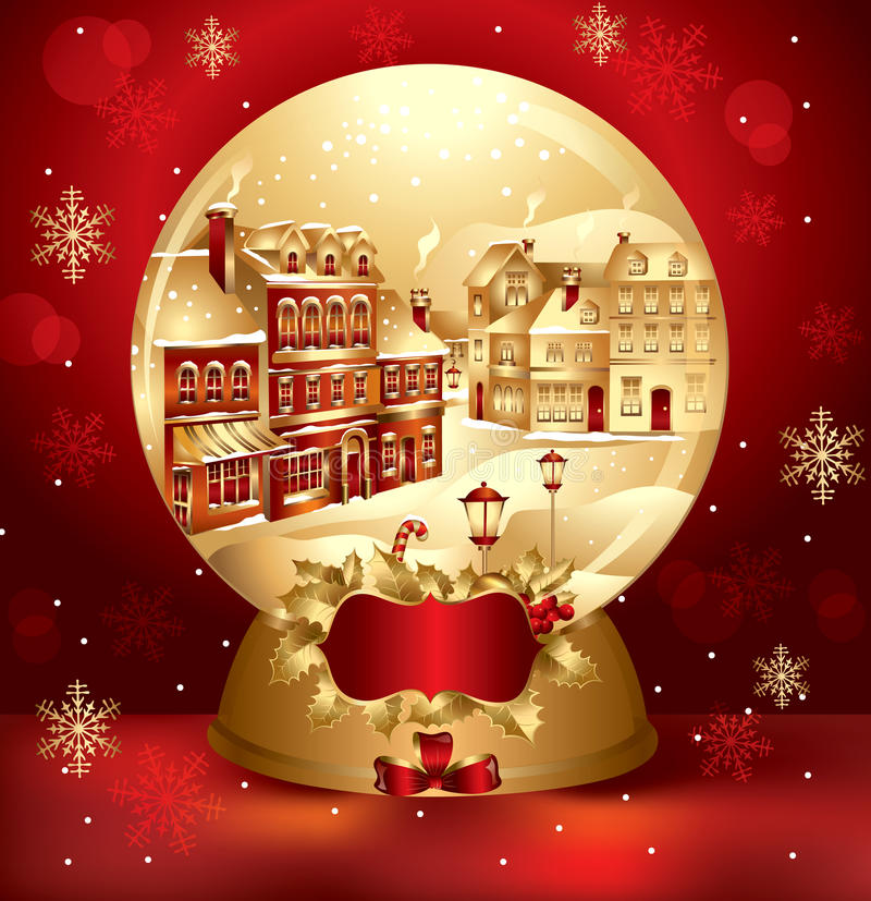 Download Golden Christmas Snow Globe Royalty Free Stock Photo - Image: 17104615