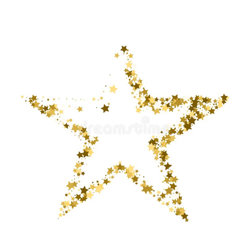 Golden Christmas star. Gold star confetti background.  royalty free illustration