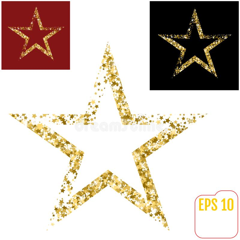 Golden Christmas star isolated on white background. Red and black background options vector illustration