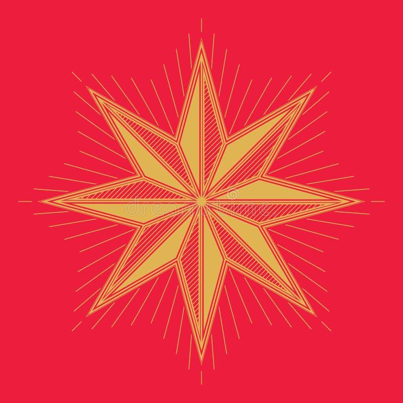 Golden Christmas star. Vintage style design royalty free illustration