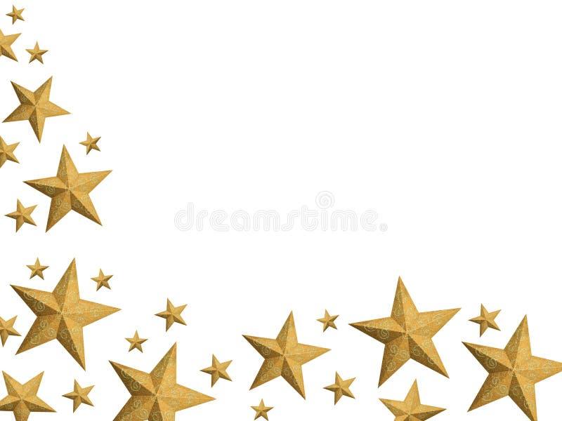 Golden Christmas stars stream - isolated. Hand painted golden Christmas stars frame (isolated vector illustration