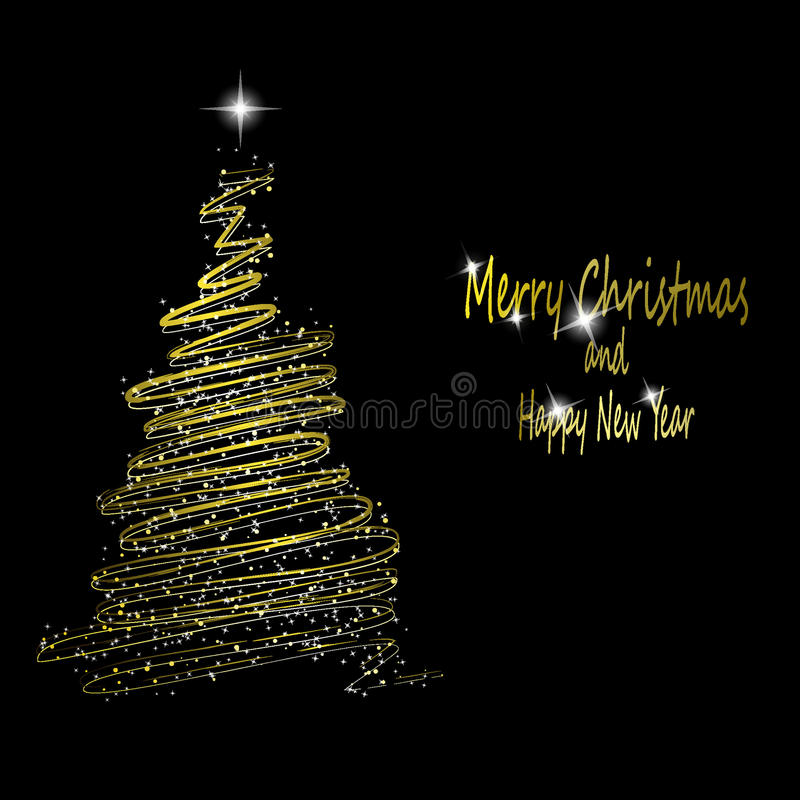 Download Golden Christmas  tree stock vector. Image of decoration - 16605641