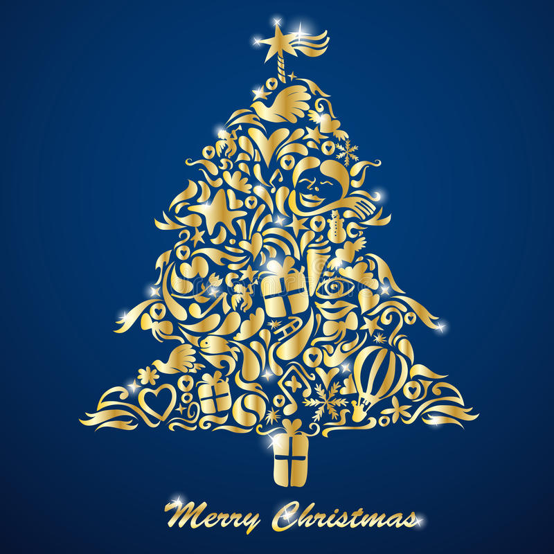 Download Golden Christmas Tree stock vector. Illustration of graphic - 16700542