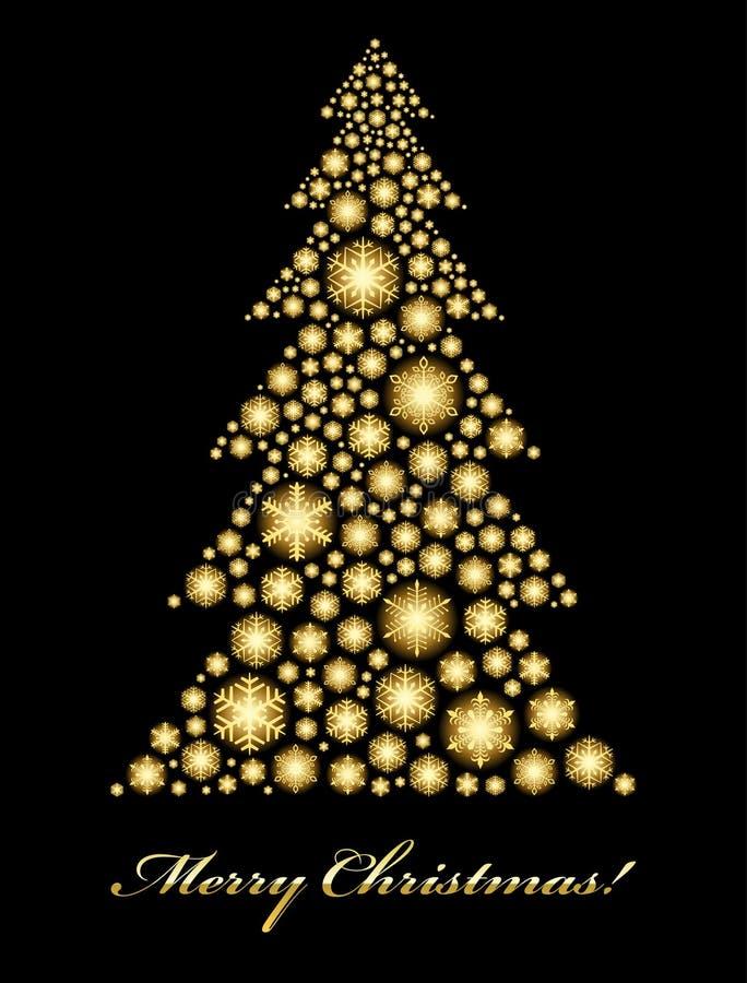 Download Golden Christmas tree stock vector. Image of bright, golden - 16710078