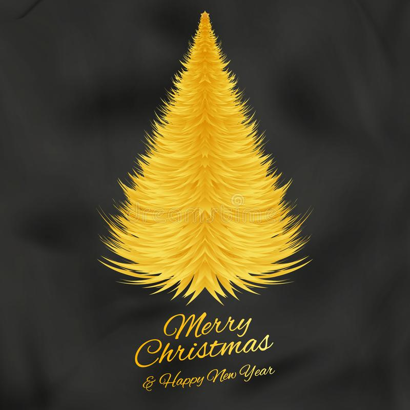 Golden Christmas tree on black silk background. Vector eps 10.  royalty free illustration