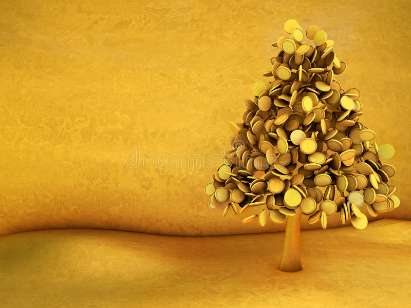 Golden christmas tree royalty free illustration