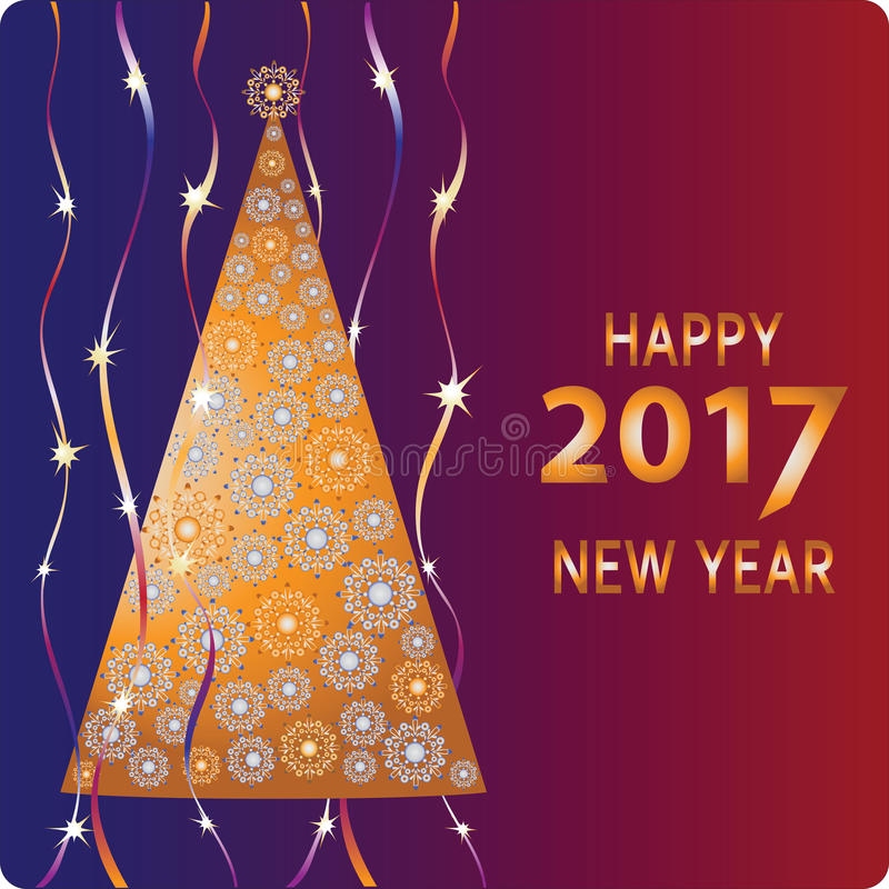 Golden Christmas tree. Happy new year. Design a Christmas greeting card, invitations to festive new year`s eve stock illustration