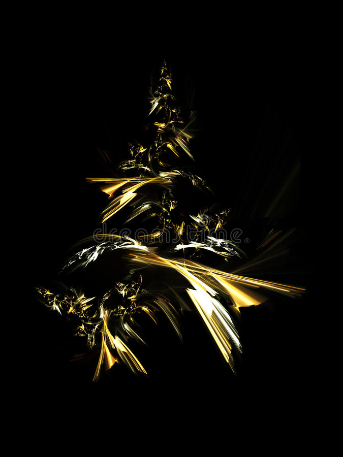 Golden Christmas Tree. Isolated on black background stock illustration