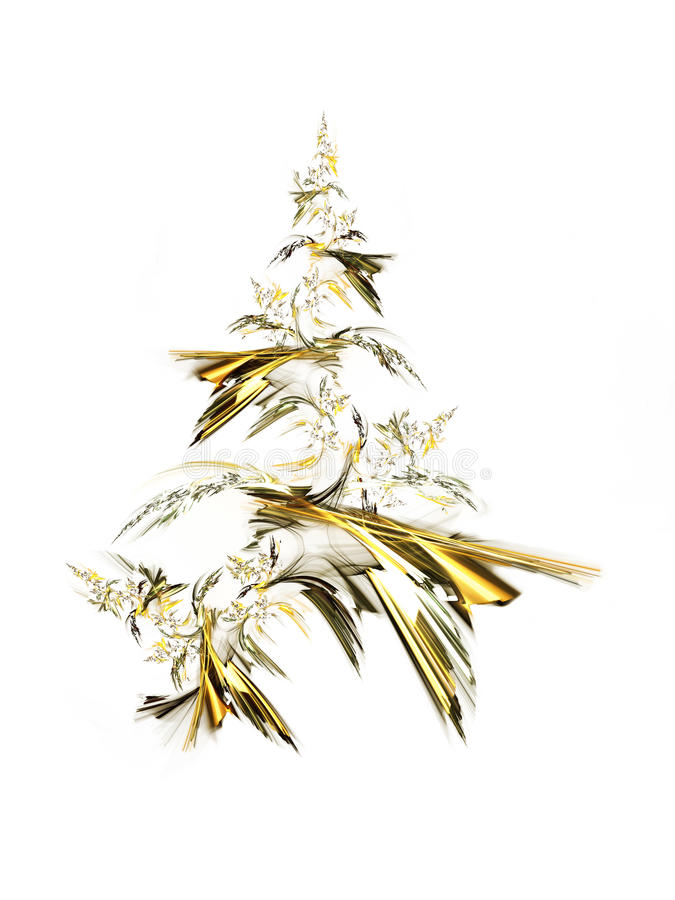 Golden Christmas Tree. Isolated on white background royalty free illustration