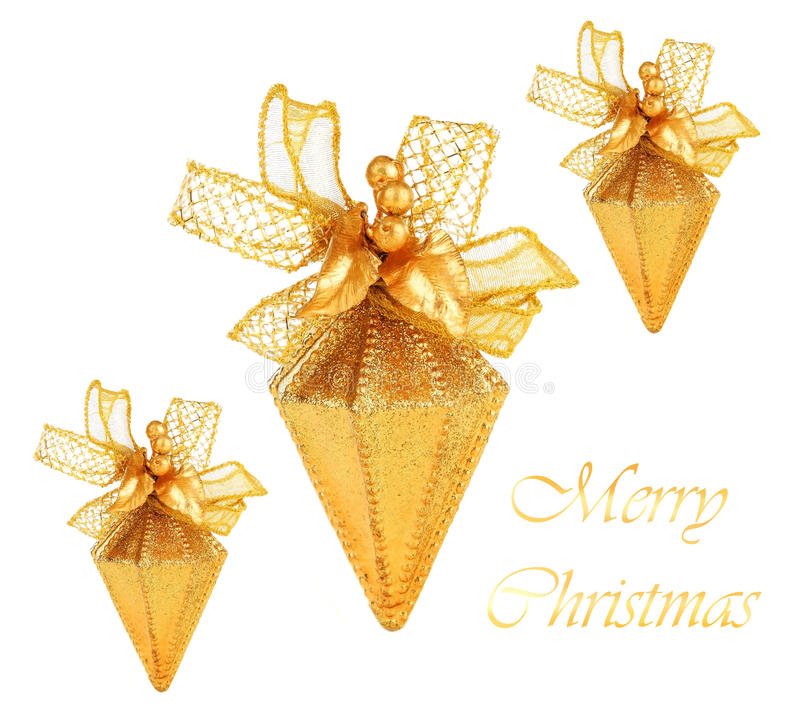 Golden Christmas tree ornaments royalty free stock images