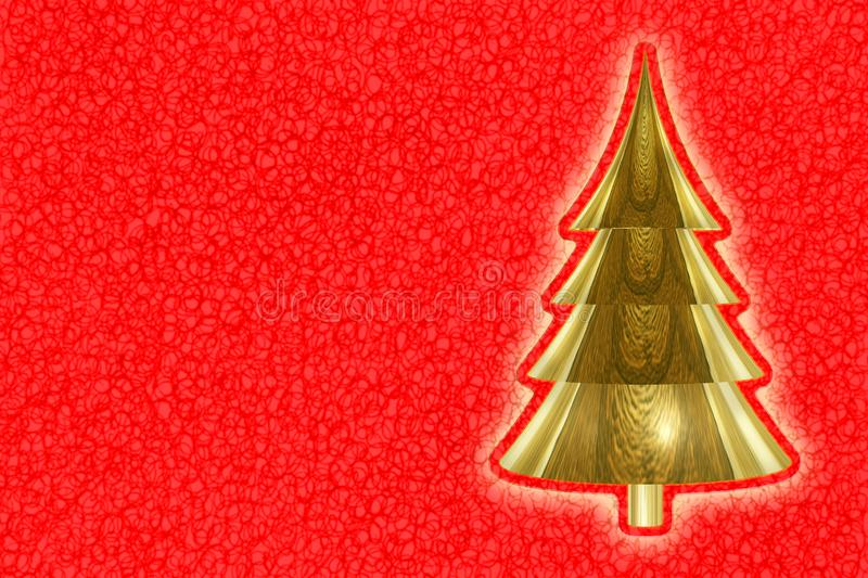 Golden christmas tree on red graphic background - image with copy space.  stock images