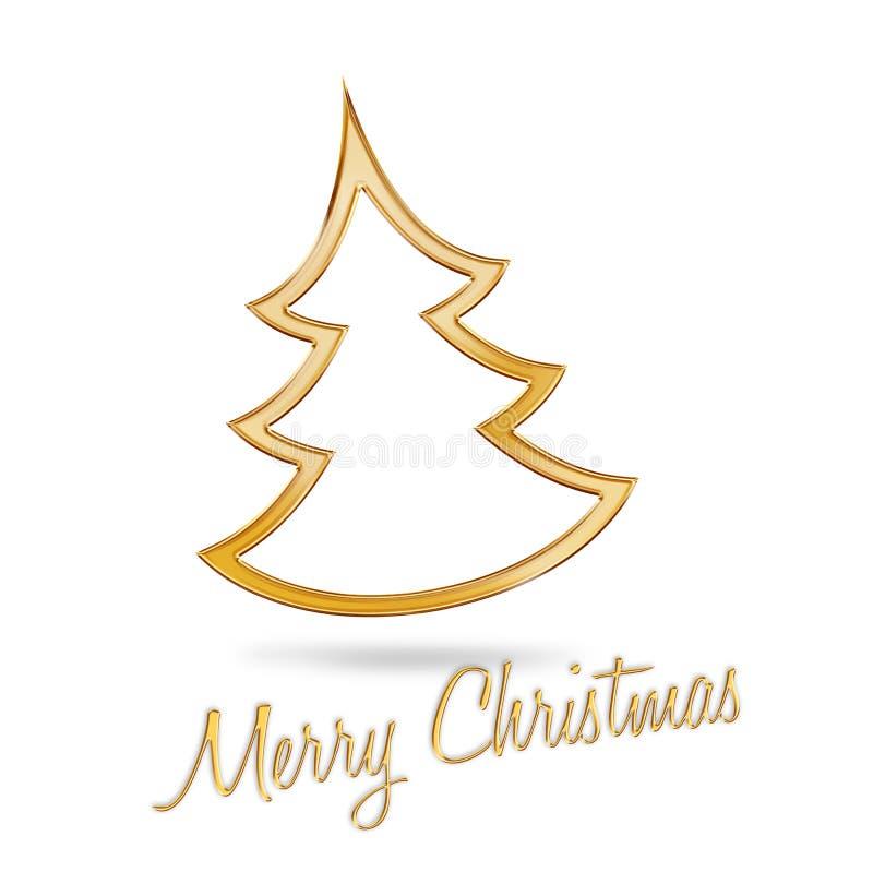 Golden christmas tree vector illustration