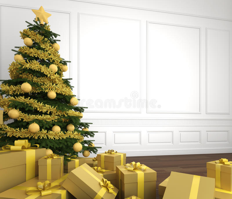 Download Golden Christmas Tree In White Room Stock Illustration - Illustration: 16316243