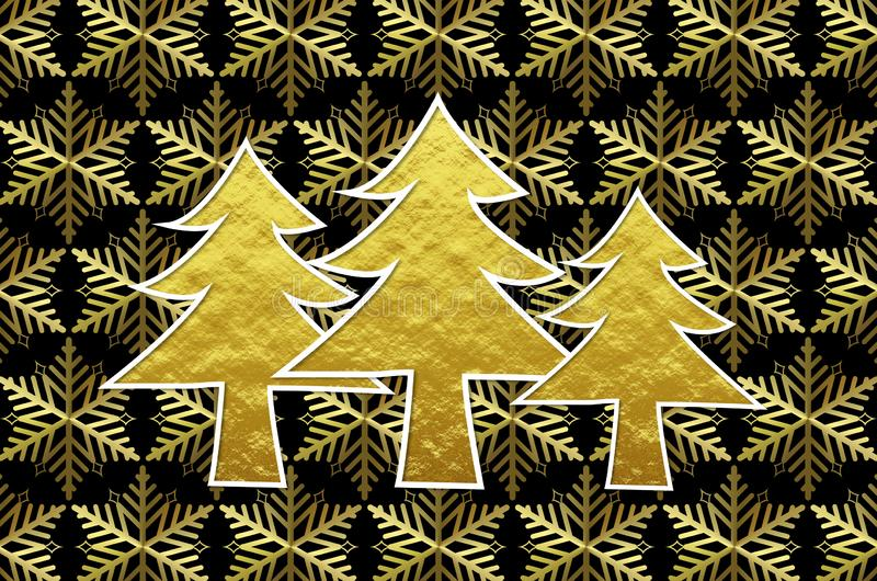 Golden christmas trees with golden ice crystals background stock illustration
