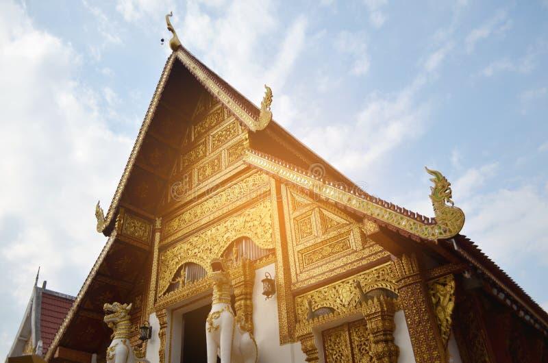 Wat Phra Singh temple in Chiang Rai, Thailand. Golden church, and the sky, Wat Phra Singh temple in Chiang Rai, Thailand royalty free stock photos