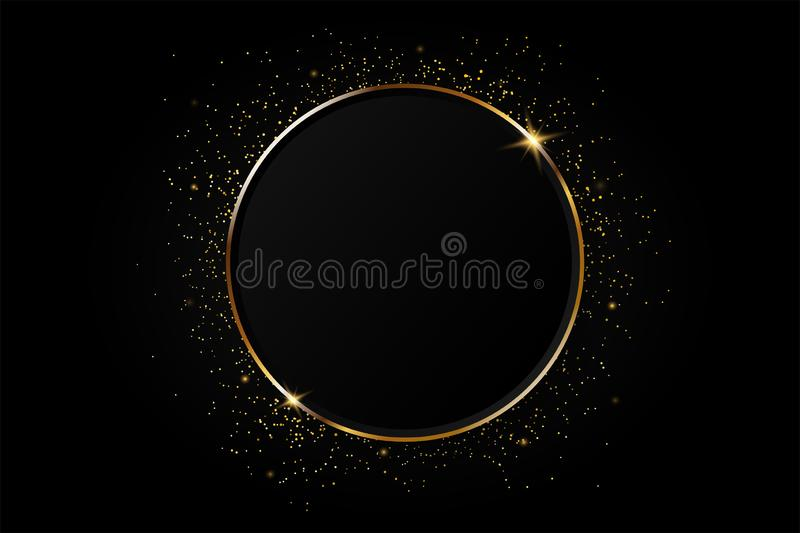 Golden circle abstract background vector illustration