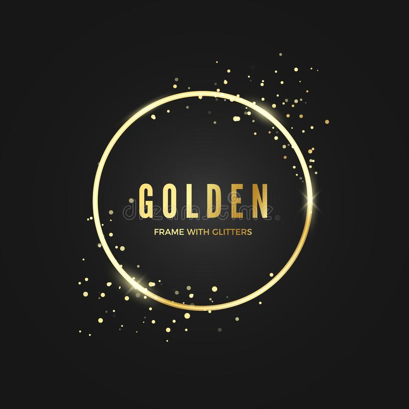 Golden Circle Frame template with glitter effect for banner and poster. Gold frame with space for text.  Vector illustration. Isolated on dark background royalty free illustration