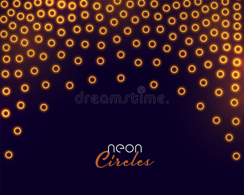 Golden circles confetti in neon glowing style background stock illustration