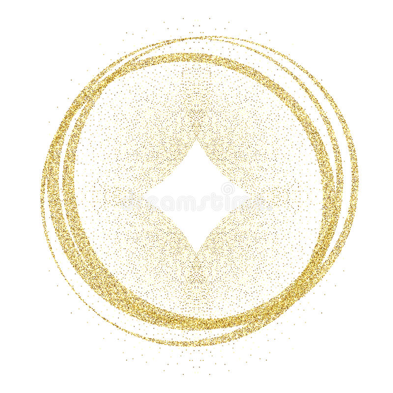 Golden circles and rings. Decoration design element of gold foil gilding texture. Festive background for New Year and vector illustration