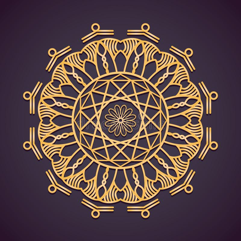 Golden circular mandala design. Golden circular mandala pattern design vector illustration
