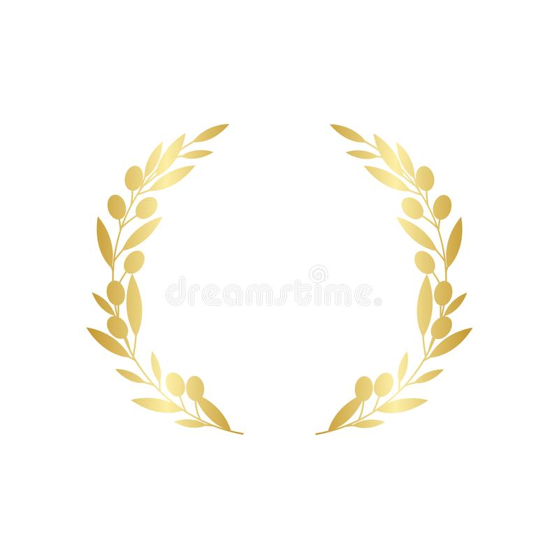 Golden circular olive greek wreath vector illustration isolated on white background. vector illustration