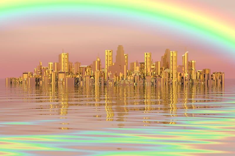 Golden city stock illustration