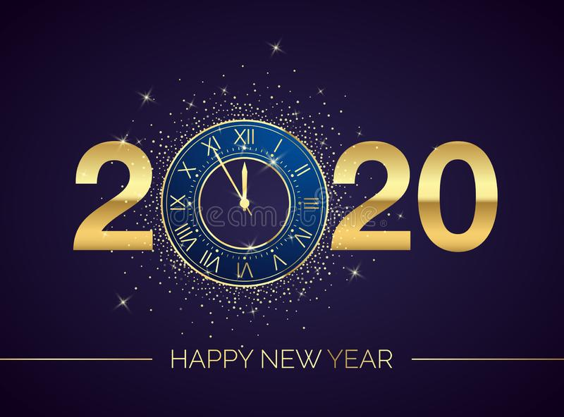 Golden Clock Dial with Numbers 2020 on Magic Christmas Background. New Year Countdown and Chimes. Five Minutes before Twelve. Template for your Design Poster or vector illustration