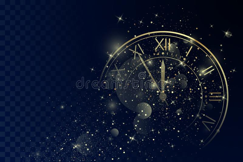 Golden Clock Dial with Roman Numbers on Magic Christmas Glitter Background. New Year Countdown and chimes. Five minutes before twelve. Vector stock illustration