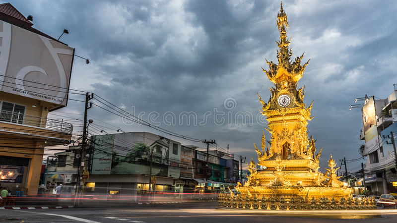 Golden clock tower royalty free stock image