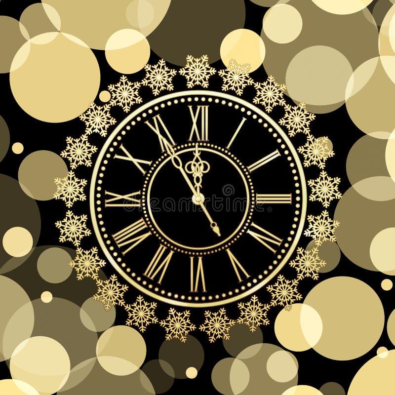 Golden Clocks With Snow Stock Vector