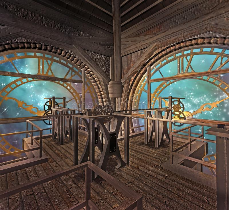 Steampunk clock room in a magic starry night. Golden clocks in a steampunk room with a view to a magic starry sky - 3D illustration stock illustration