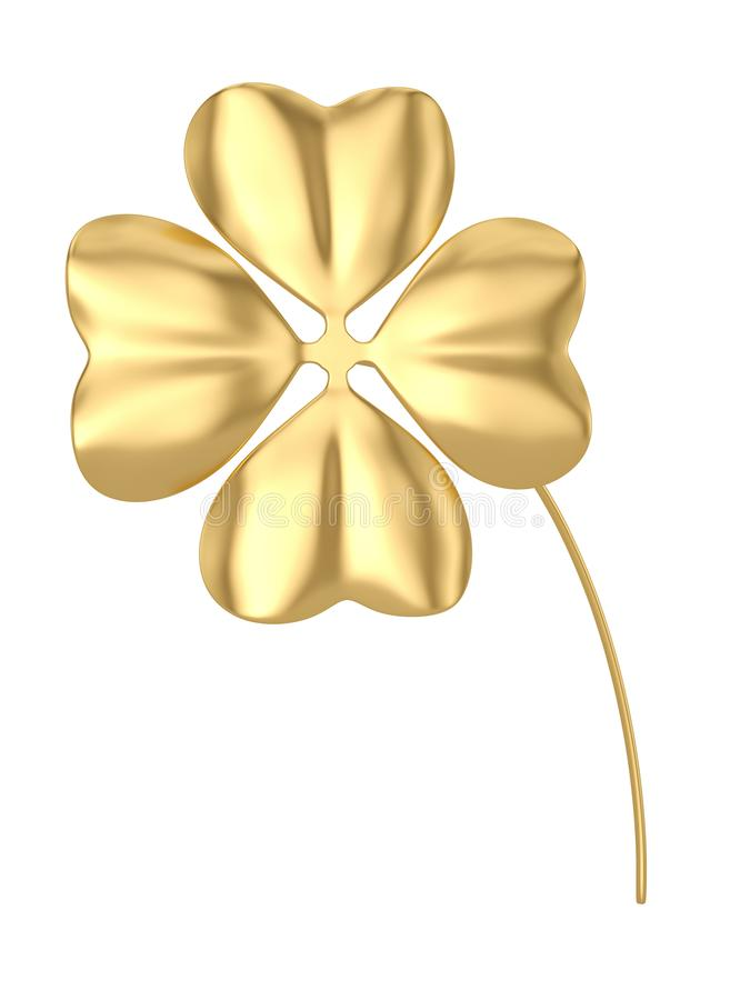 Golden clover isolated on white background 3D illustration. Golden clover isolated on white background 3D illustration vector illustration